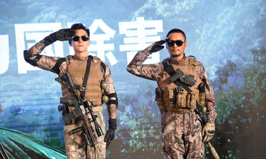 Eddie Peng (left) and Zhang Hanyu attend a press conference in Beijing for their new film, Operation Mekong, 24 August 2016.