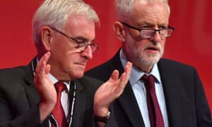 John McDonnell and Jeremy Corbyn at the Labour party conference in Brighton.