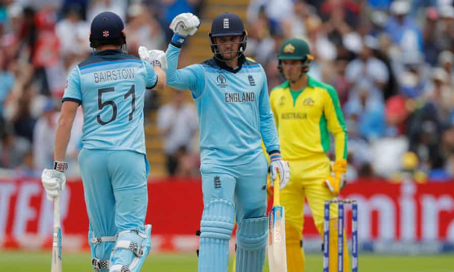 Jason Roy is congratulated by Jonny Bairstow after reaching his half-century against Australia in the Cricket World Cup semi-final.