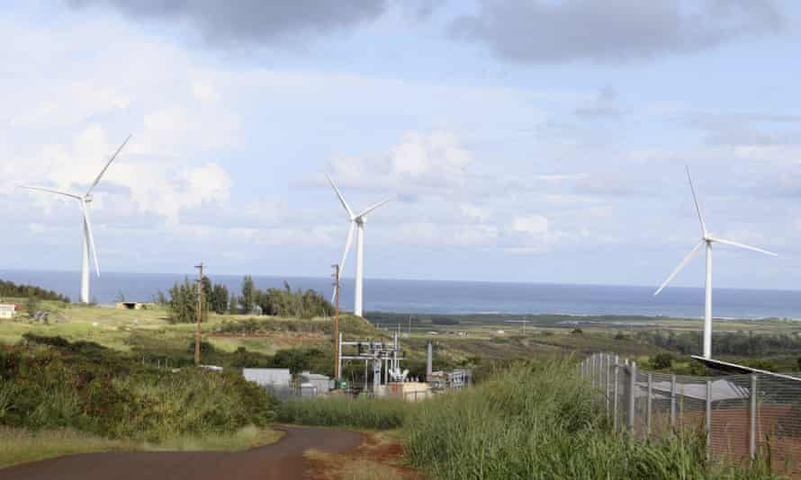 Wind turbines near where protesters are fighting against the construction of eight other taller turbines in Kahuku, Hawaii.