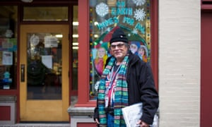 Mark Rodriguez at the office of homeless advocacy newspaper, Street Roots, which he sells in Portland.