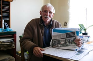 Peter flicks through a thick folder containing correspondence and news clippings regarding the redevelopment