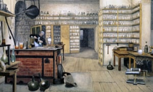 Michael Faraday at the Royal Institution, c.1850.