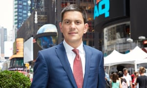 David Miliband in Times Square, New York