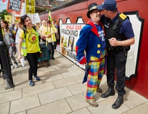 Anti-fracking campaigners celebrating outside county hall in Preston after Lancashire county council rejected Cuadrilla's application to frack for shale gas at two sites - Little Plumpton and Roseacre Wood - in the county, June 2015.