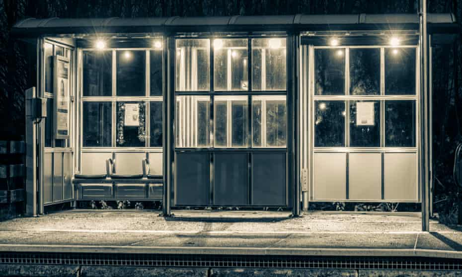 Shelter on Seaton Carew train station platform at night.