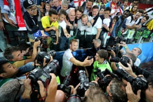 Harry Kane takes a picture with fans after the last-16 win over Colombia in Moscow's Spartak Stadium.