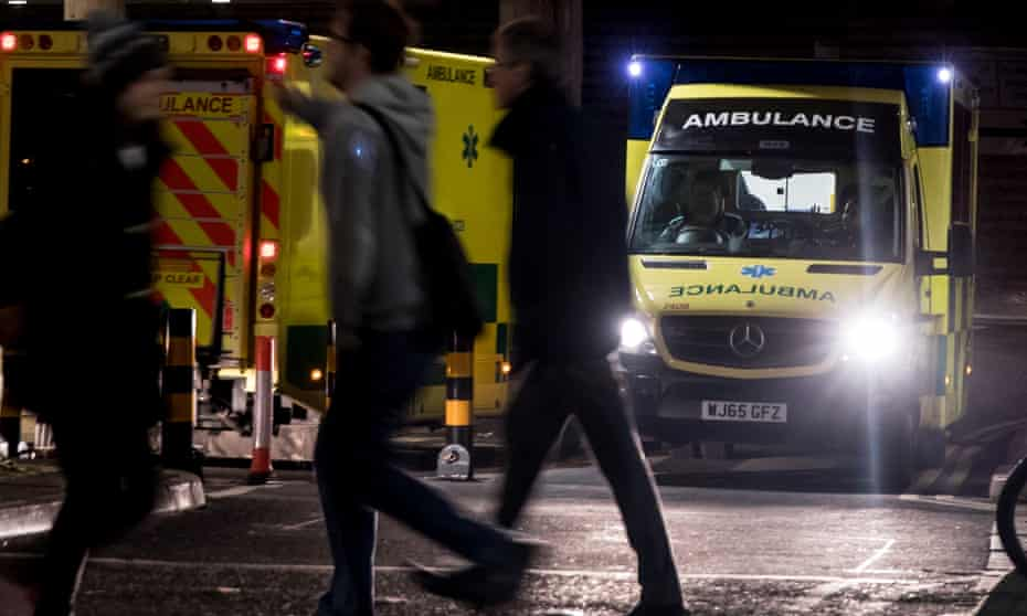 An ambulance leaves as another one arrives at the A&E department of Bristol Royal infirmary
