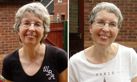 Teresa's before and after haircuts.