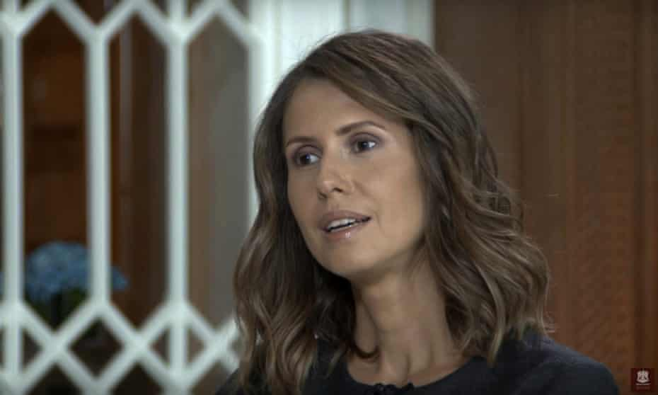 Asma al-Assad speaks to the Russian state-backed TV channel Channel 24.