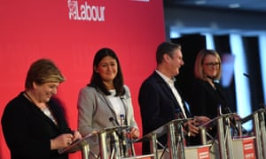 (From left) Emily Thornberry, Lisa Nandy, Keir Starmer and Rebecca Long-Bailey at Labour leadership hustings in Bristol yesterday.