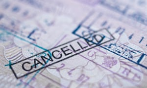 Page of a cancelled UK passport