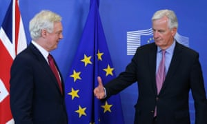 Michel Barnier, the EU chief negotiator, meets the UK's Brexit secretary, David Davis, ahead of the start of Brexit negotiations in Brussels on Monday.