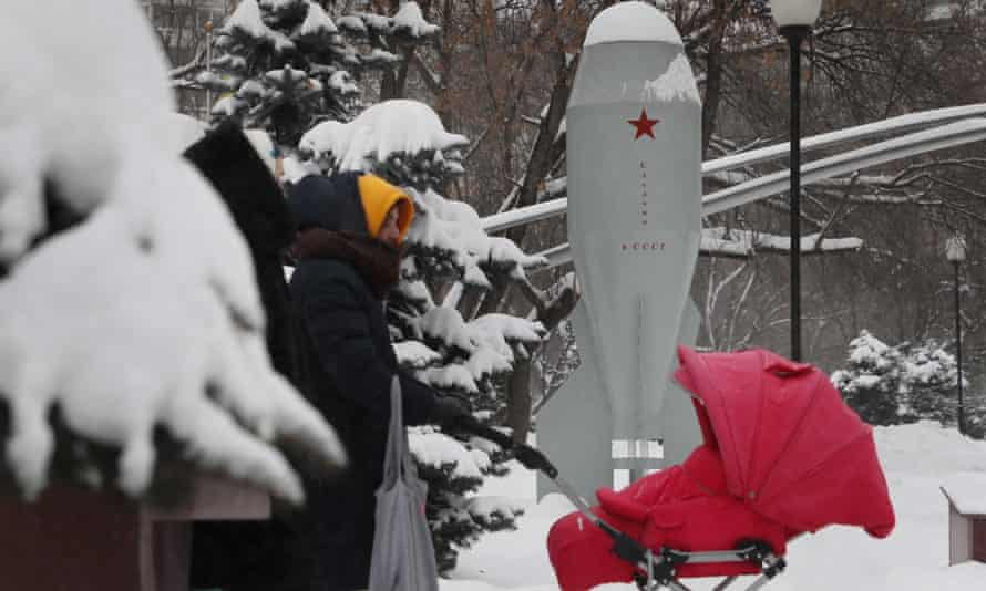 A monument to the first Soviet mass-produced tactical nuclear bomb, the RDS-4, at the Fedora Poletayeva square in Moscow, on 16 January.