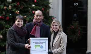 Justine Greening (right) with fellow People's Vote campaigners Chuka Umunna and Caroline Lucas delivering a petition to Number 10 calling for a second referendum.
