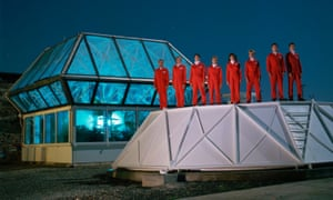 Candidates for the Biosphere II project line up on the 'lung' of its enclosed environment. Photograph: Roger Ressmeyer/Corbis