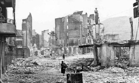 The Spanish town of Guernica after the bombing by German and Italian aircraft, 1937, during the Spanish Civil War.