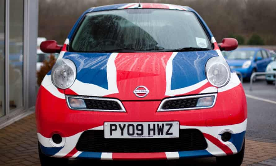 A British-made Nissan Micra painted in a Union Jack.