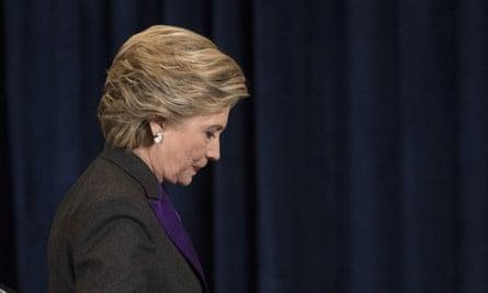 Democratic presidential candidate Hillary Clinton after speaking in New York on 9 November. She had conceded the presidency to Donald Trump in a phone call early that morning.
