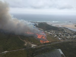 A fire near the remote town of Arthur River on the west coast of Tasmania