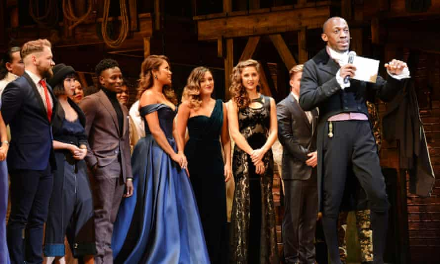 Terera as Aaron Burr with the West End Cast of Hamilton.