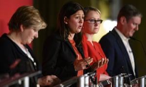 From left: Emily Thornberry, Lisa Nandy, Rebecca Long-Bailey and Keir Starmer at the Labour leadership hustings in Cardiff on 2 February