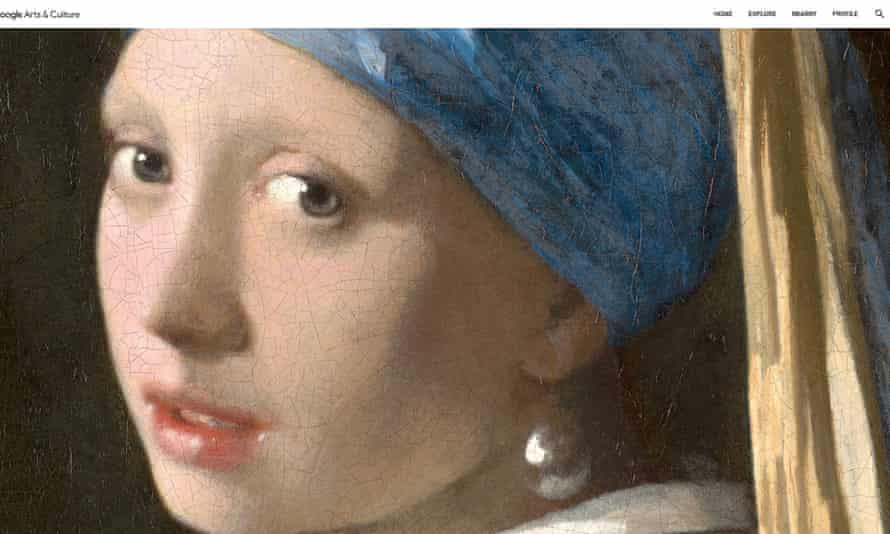 close-up of Girl with the Pearl Earring