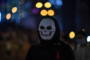 A protester in the Admiralty march on Friday..