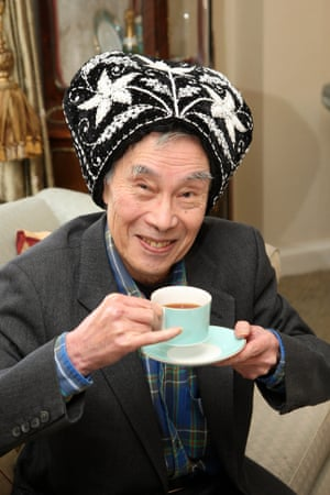Kwouk wearing a tea cosy on his head to promote anti-poverty charity Elizabeth Finn Care's fundraising event the Big Tea Cosy, 2009