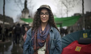 Cherifa, a French student at Paris' Louis-le-Grand high school, who is taking part in the night-time protests.
