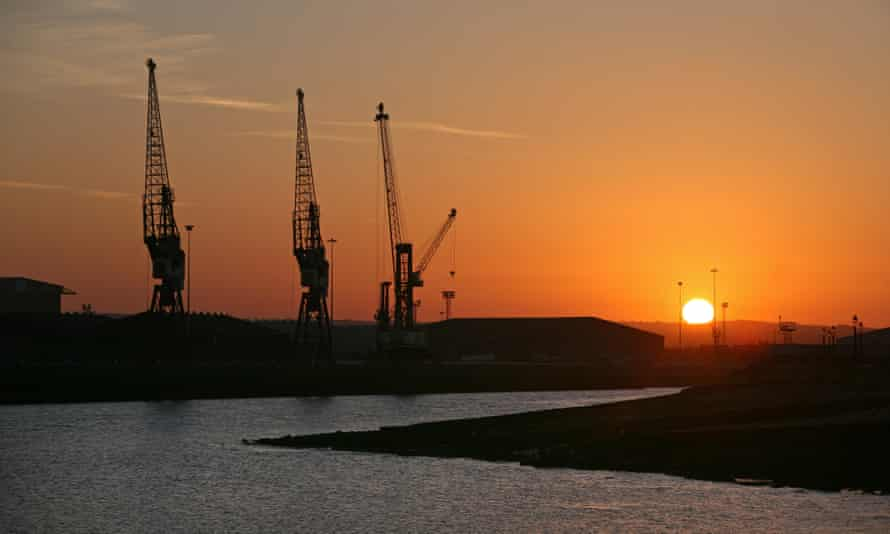 Looking from The Headlands towards Hartlepool Docks at sunset