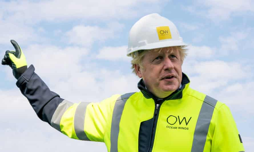 Boris Johnson during a visit to the Moray Offshore Windfarm East, off Scotland's Aberdeenshire coast, on Thursday