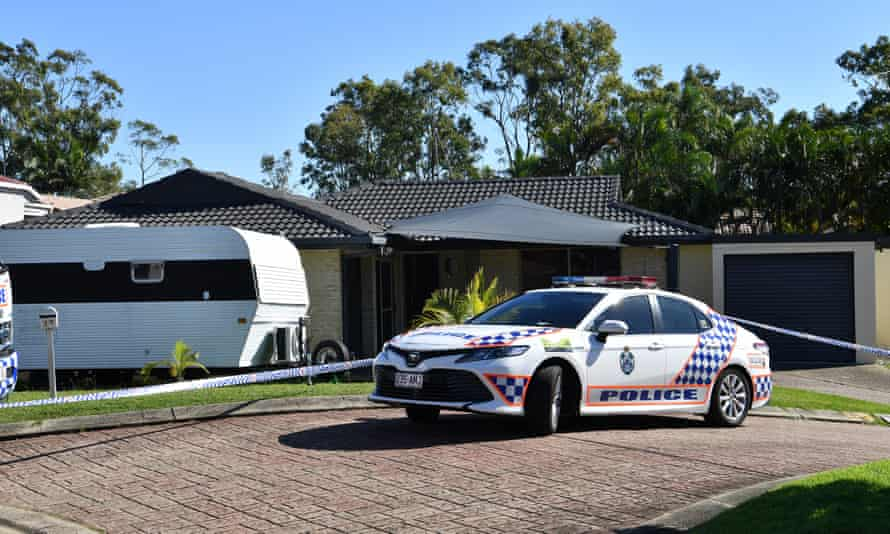 Police are seen at the home of murder victim Kelly Wilkinson on the Gold Coast, Australia