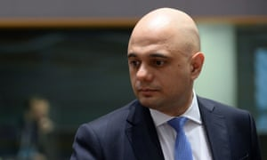 Sajid Javid at a meeting of EU finance ministers in Brussels.