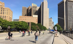 Detroit closed eight-lane Michigan Avenue to cars during its first ever Open Streets event on 25 September