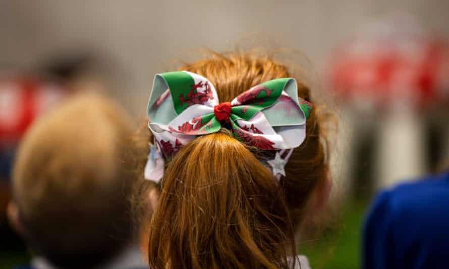 Girl with Welsh flag hair ribbon