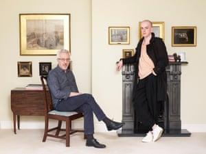 Novelist Alan Hollinghurst, left, with poet Andrew McMillan, photographed at Hollinghurst's home