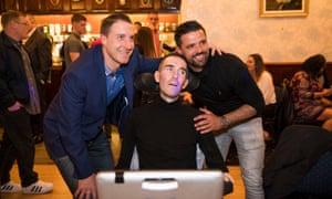 Fernando Ricksen at an ex-servicemen's club in Glasgow last week with his former Rangers teammates Nacho Novo and Gregory Vignal.