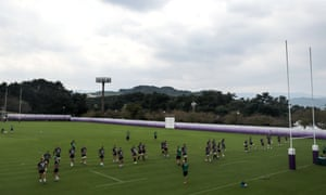 Ireland train at Shirouzuoike Park, Fukuoka, on Monday.