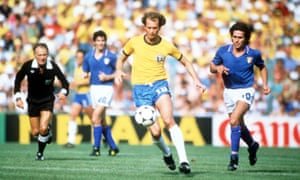 1982 World Cup Finals. Second Phase. Barcelona, Spain. 5th July, 1982. Italy 3 v Brazil 2. Brazil's Falcao is chased by Italy's Bruno Conti.<br>1982 World Cup Finals, Second Phase, Barcelona, Spain, 5th July, 1982, Italy 3 v Brazil 2, refereed by Abraham Klein Brazil's Falcao is chased by Italy's Bruno Conti  (Photo by Bob Thomas/Getty Images)