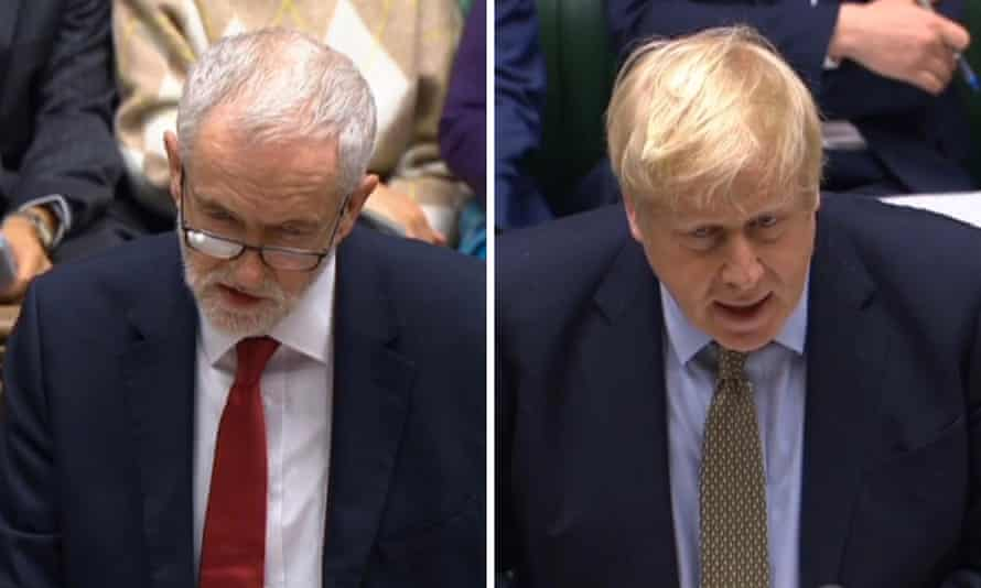 Jeremy Corbyn and Boris Johnson at the first PMQs of 2020.
