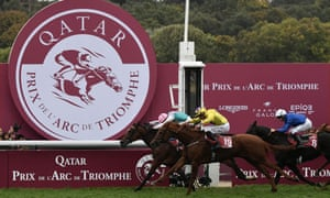Frankie Dettori riding Enable crosses the finish line to win the 2018 Qatar Prix de l'Arc de Triomphe.