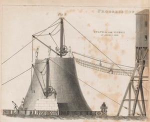 An engraving of the Bell Rock lighthouse under construction in 1809. Shining a light for over 200 years in the North Sea, this tower is the oldest to remain operating upon its reef.