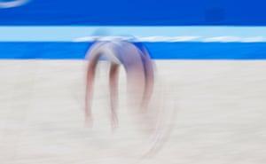 Artem Dolgopyat of Israel competes in the men's floor exercise final.