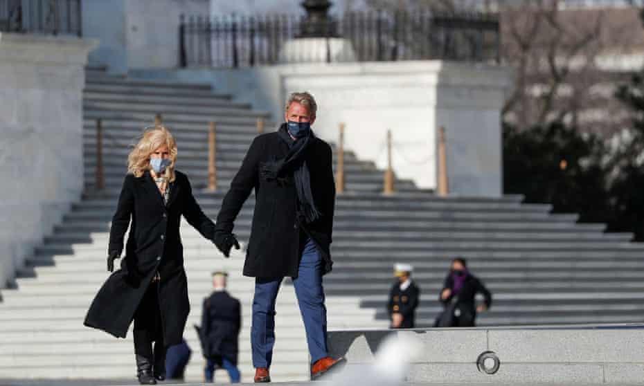 Former Arizona senator Jeff Flake and his wife, Cheryl, after the inauguration of Joe Biden as the 46th president.