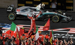 Lewis Hamilton climbs out of his Mercedes car as Kimi Räikkönen is congratulated by Ferrari fans.