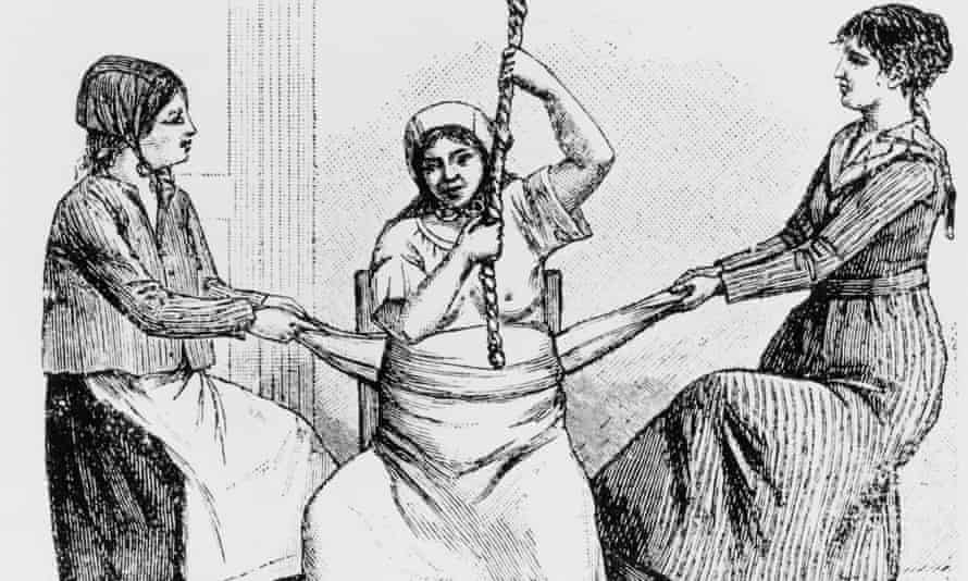 a Californian woman, circa 1840, being helped to give birth on a birth chair by two midwives, each pulling on a cloth wrapped around her belly.