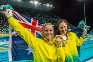 Bronte Campbell and Cate Campbell after they won gold and silver in the 100m freestyle