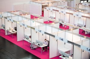 Munich, Germany: Employees set up workstations for Covid contact tracing teams. Up to 500 employees will be deployed at the central location to track down people infected with coronavirus
