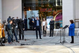 Diane Dodds speaking to the media during a visit to the Victoria Square shopping centre in Belfast this morning.